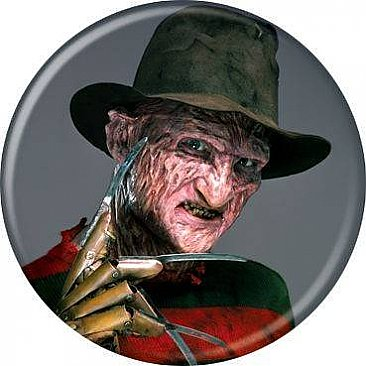 A Nightmare on Elm Street Freddy on Dark Grey Button