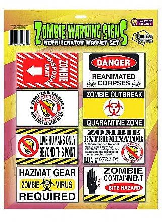 Zombie Warning Signs Refrigerator Magnet Set