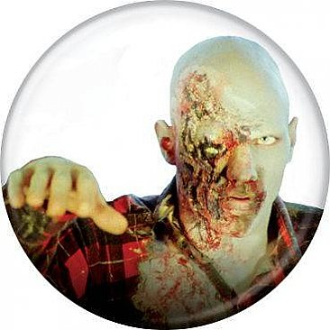Dawn of the Dead Plaid Zombie Button