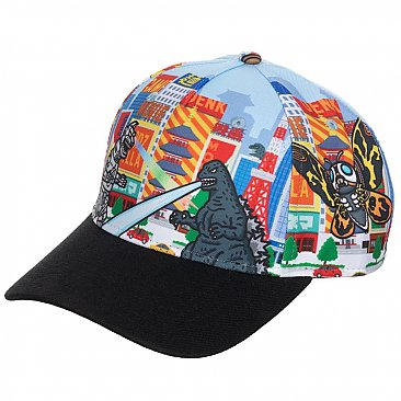 Godzilla All Over Printed Pre-curved Snapback